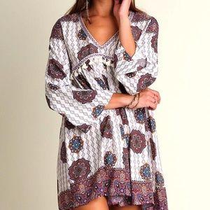 UMGEE Tassel Floral Purple Dress Pleated S M L